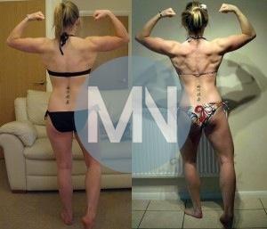 Female physique model back comparrison
