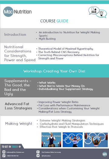 Weight Making Workshop Course Guide